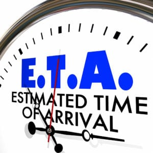 Rainbow Movers -ETA Estimated Time of Arrival Clock Hands Ticking