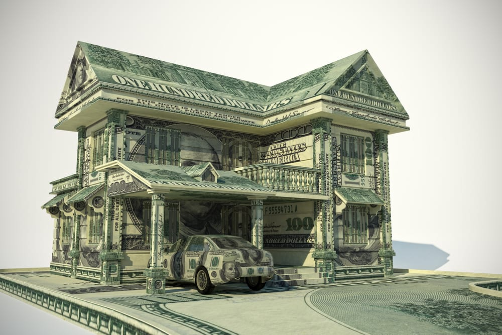 House made out of $100 bills.