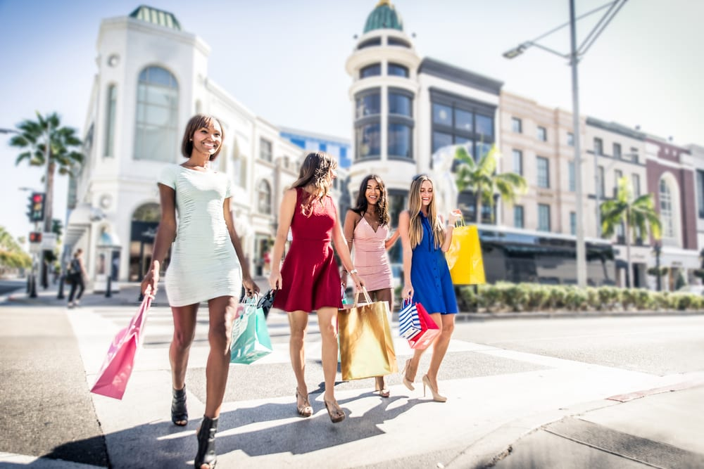 Women shopping in Beverly Hills, Los Angeles.